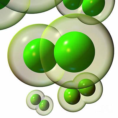 Digital Art - Chlorine Molecule 3 White by Russell Kightley