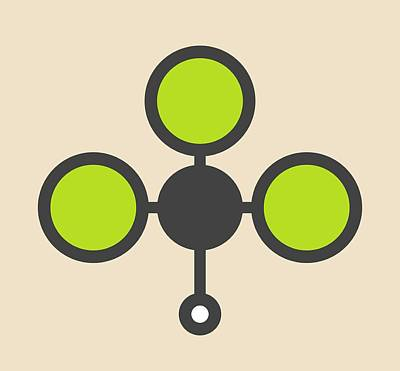 Chloroform Solvent Molecule Art Print by Molekuul