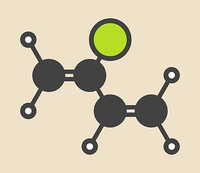 Polymer Photograph - Chloroprene Molecule by Molekuul
