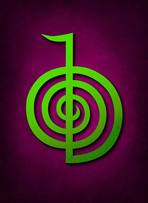 Cho Ku Rei - Lime Green On Purple Reiki Usui Symbol Art Print by Cristina-Velina Ion