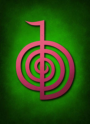 Inner Self Digital Art - Cho Ku Rei - Pink On Green Reiki Usui Symbol by Cristina-Velina Ion