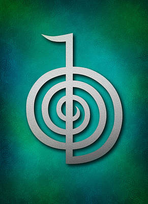 Inner Self Digital Art - Cho Ku Rei - Silver On Blue And Green Reiki Usui Symbol by Cristina-Velina Ion