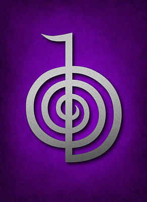 Inner Self Digital Art - Cho Ku Rei - Silver On Violet Reiki Usui Symbol by Cristina-Velina Ion