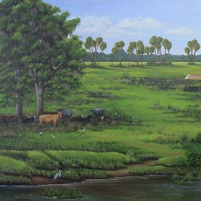 Cattle Egret Painting - Chobee Life by Kathie Papasso