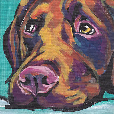 Portrait Dog Painting - Choco Lab Love by Lea S