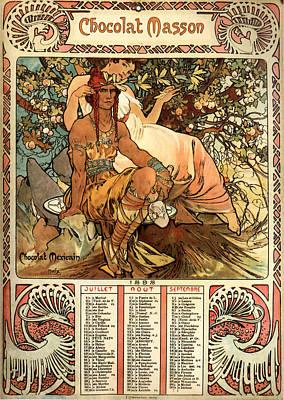 Mucha Painting - Chocolat Masson Poster by Philip Ralley