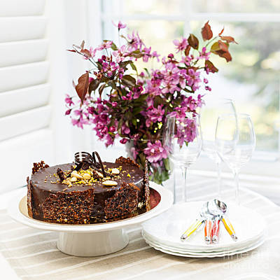 Table Setting Photograph - Chocolate Cake With Flowers by Elena Elisseeva