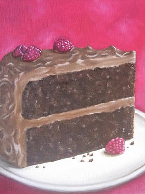 Chocolate Cake With Raspberries Original by Laurie Dellaccio