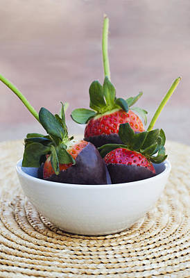 Three Of A Kind Photograph - Chocolate Covered Strawberries In A Bowl_ Oahu, Hawaii, United States Of America by Brandon Tabiolo