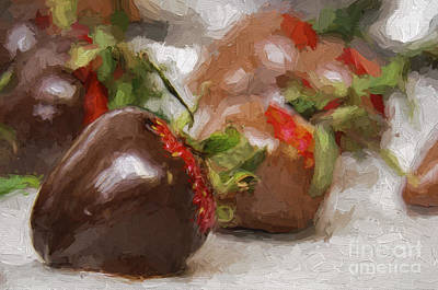 Digital Art - Chocolate Covered Strawberries Painterly 3 by Andee Design