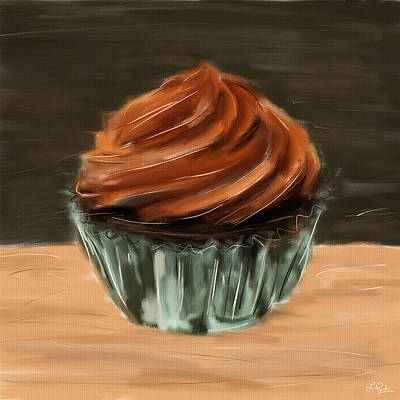 Strawberries Digital Art - Chocolate Cupcake by Lourry Legarde
