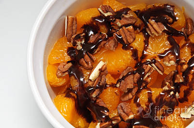 Chocolate Drizzled Mandarin Oranges With Nuts  Print by Andee Design