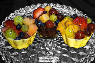 Pretty Cupcakes Digital Art - Chocolate Fruit Cups by Suzanne L Kish