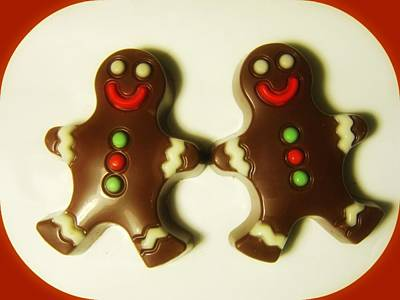 Digital Art - Chocolate Ginger Bread Men Christmas by Holley Jacobs