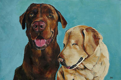 Chocolate Labrador Retriever Painting - Chocolate Lab And Yellow Lab by Julie Dalton Gourgues
