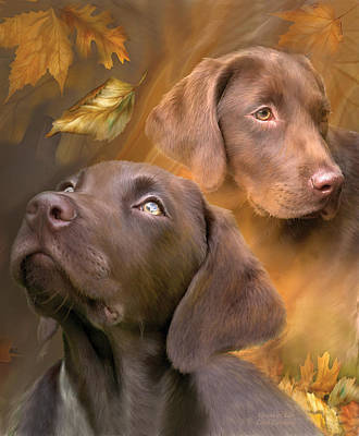 Autumn Art Mixed Media - Chocolate Lab by Carol Cavalaris