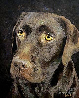 Portrait Painting - Chocolate Labrador by Dragica  Micki Fortuna