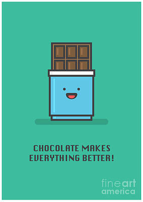 Digital Art - Chocolate Makes Everything Better Line by Orange Vectors