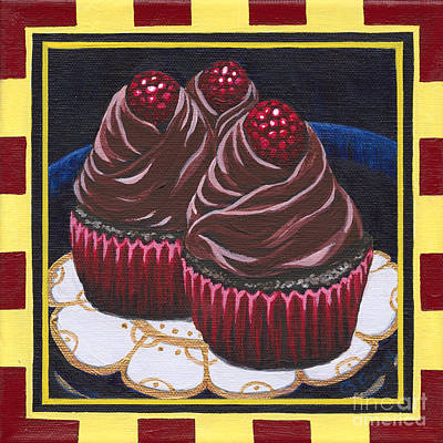Painting - Chocolate Raspberry Cupcakes by Gail Finn
