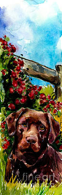 Chocolate Labrador Retriever Painting - Chocolate Raspberry Fields by Molly Poole