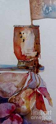 Painting - Chocolate Spilling Over The Glass And Onto The Pears by Donna Acheson-Juillet
