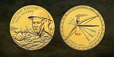 Wwi Digital Art - Choctaw Nation Tribe Code Talkers Bronze Medal Art by Movie Poster Prints