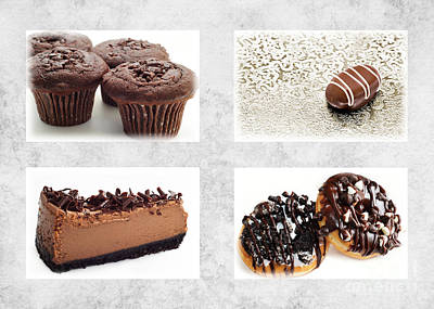 Culinary Mixed Media - Choice Of Chocolate 4 X 4 Collage 1 - Bakery Sweets Shoppe by Andee Design