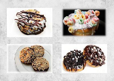 Choice Of Donuts 4 X 4 Collage 1 - Bakery - Sweets Shoppe Art Print by Andee Design