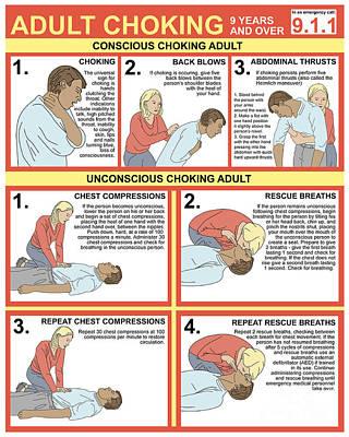Choking First Aid Chart Art Print