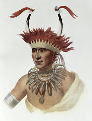 Earrings Photograph - Chon-mon-i-case Or Lietan, An Oto Half-chief, 1821, Illustration From The Indian Tribes Of North by Charles Bird King