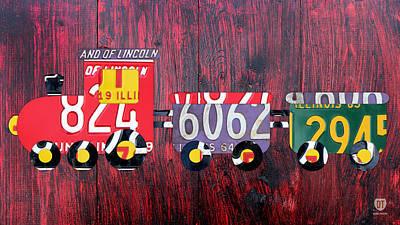 Usa Mixed Media - Choo Choo Train License Plate Art by Design Turnpike
