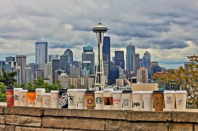 Seattle Skyline Photograph - Choose Your Brew by Benjamin Yeager