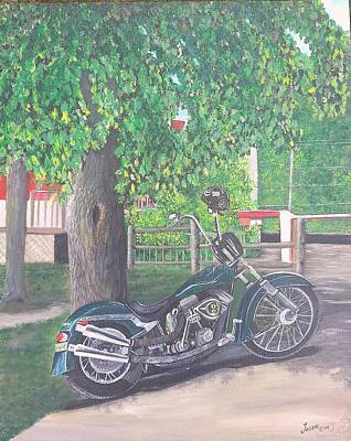 Two Bikes Painting - Chopper by Just Joszie