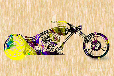 Motorcycle Mixed Media - Chopper by Marvin Blaine