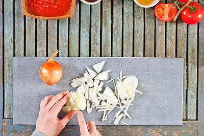 Paste Photograph - Chopping Onions by Tom Gowanlock