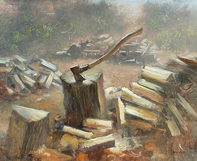 Painting - Chopping Wood by Keith Gunderson