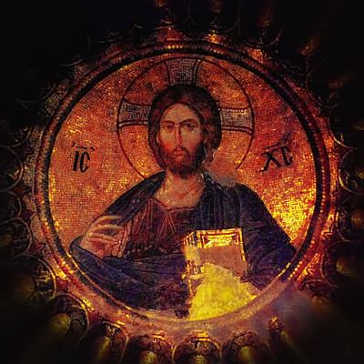 Photograph - Chora Christ Pantocrator by Nigel Fletcher-Jones