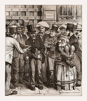 Democrat Drawing - Chorus Of Hungry Democrats, 1880, 19th Century Engraving by Litz Collection