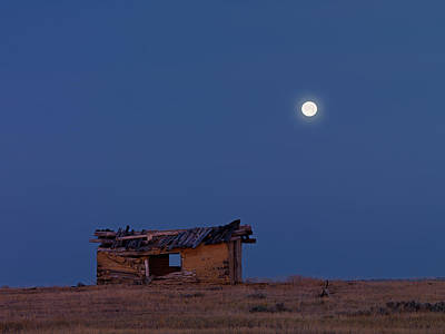 Quiet Town Photograph - Choteau Cabin by Leland D Howard