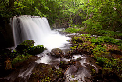 Photograph - Choushi - Ootaki Waterfall In Summer by Brad Brizek