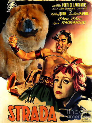 Painting - Chow Chow Art Canvas Print - La Strada Movie Poster by Sandra Sij