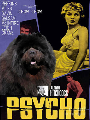 Painting - Chow Chow Art Canvas Print - Psycho Movie Poster by Sandra Sij