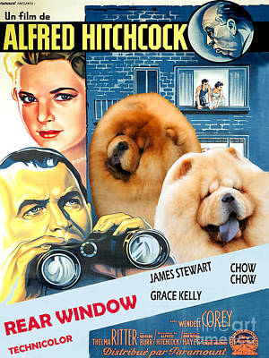 Painting - Chow Chow Art Canvas Print - Rear Window Movie Poster by Sandra Sij