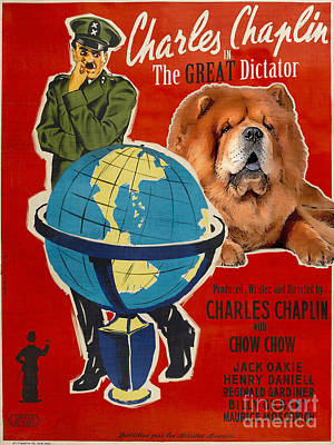 Painting - Chow Chow Art Canvas Print - The Great Dictator Movie Poster by Sandra Sij
