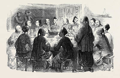 Chow-chow Chinese Supper At Hong Kong Art Print by English School