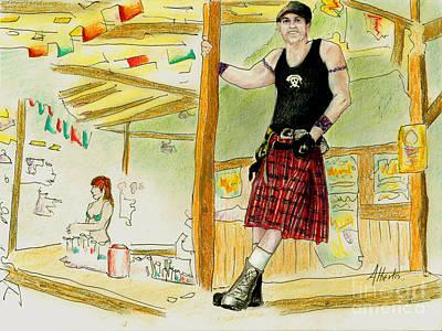 Art Print featuring the painting Chris At The Broken Spoke Saloon by Albert Puskaric