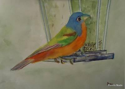 Chris' Birdfeeder Art Print by Betty Pimm