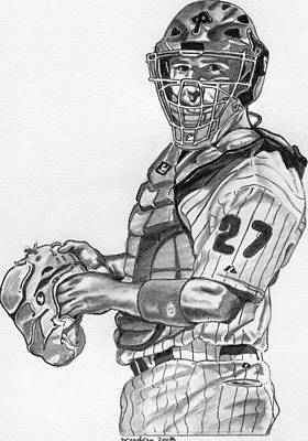 Baseball. Philadelphia Phillies Drawing - Chris Coste by Brian Condron