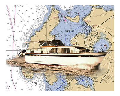 Yacht On A Chart Chris Craft San Juan Islands Chart Art Print by Jack Pumphrey