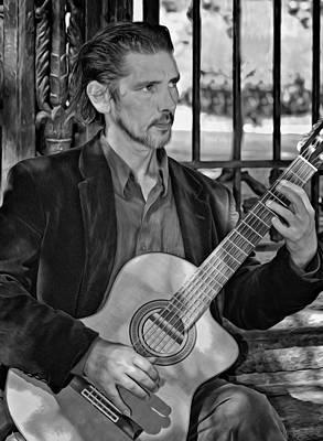 Jackson Square Photograph - Chris Craig - New Orleans Musician Bw by Steve Harrington